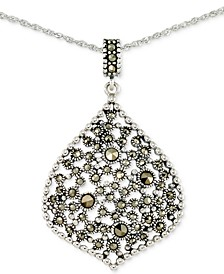 "Marcasite 18"" Pendant Necklace in Sterling Silver"