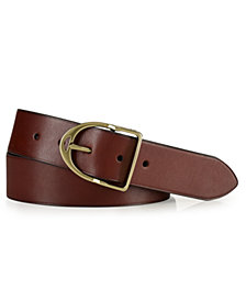 Polo Ralph Lauren Men's Accessories, Wilton Leather Equestrian D-Ring Belt
