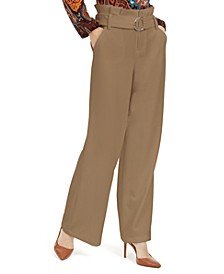 I.N.C. Paperbag-Waist Wide-Leg Pants, Created For Macy's