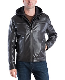 MICHAEL Kors Men's Faux-Leather Hooded Bomber Jacket