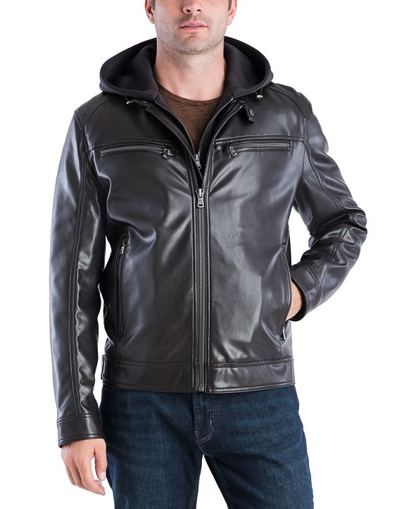 Michael Kors MICHAEL Kors Men's Faux-Leather Hooded Bomber Jacket