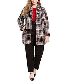 Plus Size Tweed Topper, Blouson-Sleeve Top & High-Waist Tuxedo Pants