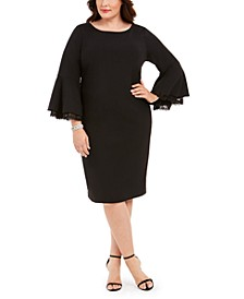 Plus Size Lace Bell-Sleeve Dress
