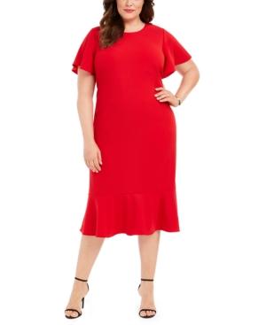 1930s Art Deco Plus Size Dresses | Tea Dresses, Party Dresses Calvin Klein Plus Size Flounce-Hem Sheath Dress $139.00 AT vintagedancer.com