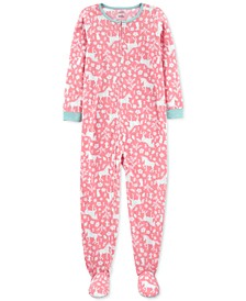 Little & Big Girls 1-Pc. Unicorn-Print Fleece Footie Pajamas
