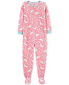 Carter's Little & Big Girls 1-Pc. Unicorn-Print Fleece Footie Pajamas
