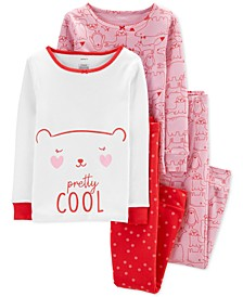 Little & Big Girls 4-Pc. Cotton Snug-Fit Bear Pajamas Set