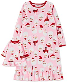 Little & Big Girls 2-Pc. Santa & Matching Doll Nightgown