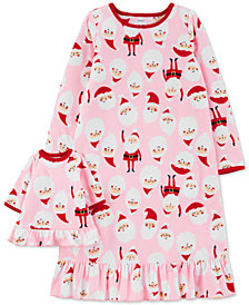 Carter's Little & Big Girls 2-Pc. Santa & Matching Doll Nightgown