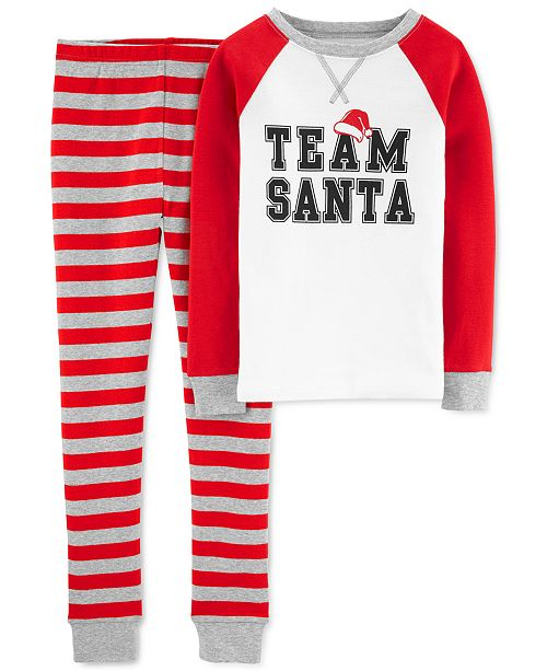 Carter's Little & Big Boys 2-Pc. Cotton Team Santa Pajamas Set