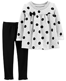 Toddler Girls 2-Pc. Polka-Dot Fleece Top & Leggings Set