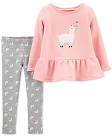 Baby Girls 2-Pc. Llama Peplum Top & Leggings Set
