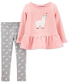 Carter's Baby Girls 2-Pc. Llama Peplum Top & Leggings Set