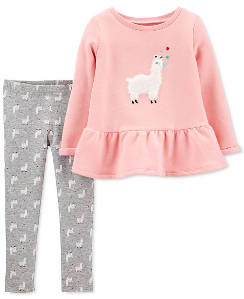 Carter's Baby Girls 2-Pc. Llama Peplum Top & Leggings Set