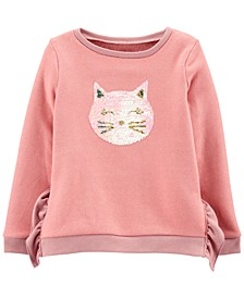 Little & Big Girls Flip-Sequin Cat Fleece Sweatshirt