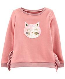 Little & Big Girls Flip-Sequin Cat Fleece Sweatshirt