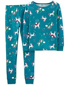 Little & Big Girls 2-Pc. Cotton Unicorn Pajamas Set