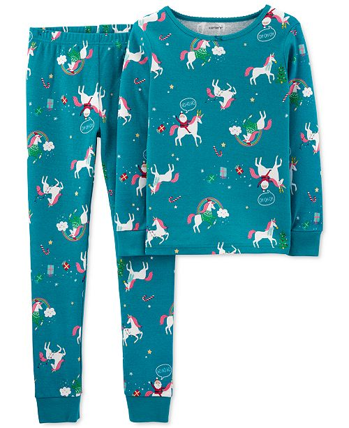 Carter's Little & Big Girls 2-Pc. Cotton Unicorn Pajamas Set