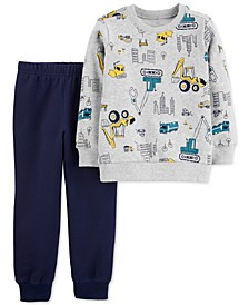 Baby Boys 2-Pc. Construction Fleece Sweatshirt & Joggers Set