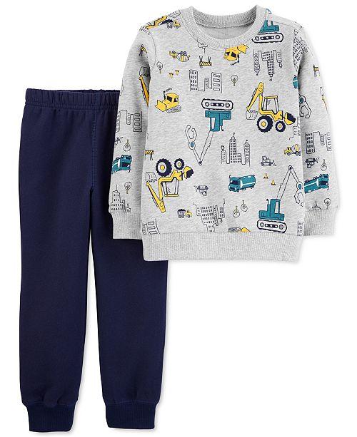 Carter's Baby Boys 2-Pc. Construction Fleece Sweatshirt & Joggers Set