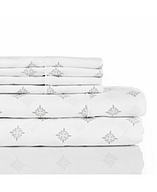 Aspire Linens 300 Thread Count with 2 Bonus Pillowcases, 6-PC Printed Full Sheet Set