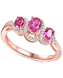 Ruby (3/4 ct. t.w.) & Diamond (1/10 ct. t.w) Statement Ring in 14k Rose Gold Over Sterling Silver