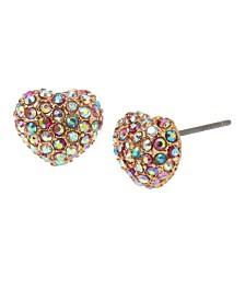 Betsey Johnson Mixed Stone Heart Stud Earrings