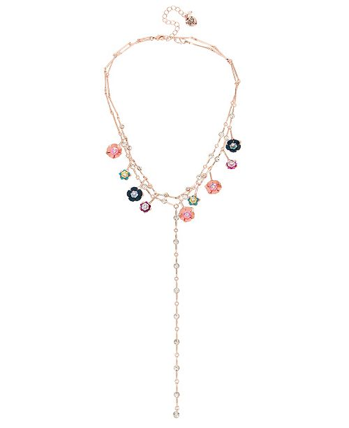 Betsey Johnson Mixed Flower Charm Layered Y-Necklace