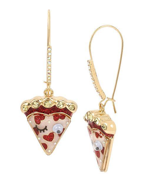 Betsey Johnson Pizza Long Drop Earrings