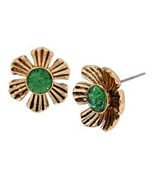 Betsey Johnson Emerald Flower Stud Earrings