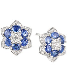 Sapphire (2-1/2 ct. t.w.) & Diamond (1/2 ct. t.w.) Flower Stud Earrings in 14k White Gold (Also Available in Emerald and Certified Ruby)