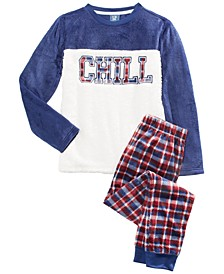 Big Boys 2-Pc. Chill Pajama Set With Faux-Sherpa Trim