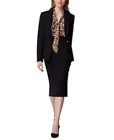 Peak-Lapel Single-Button Blazer & Side-Button Pencil Skirt