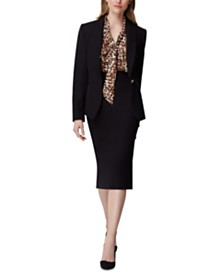 Tahari ASL Peak-Lapel Single-Button Blazer & Side-Button Pencil Skirt