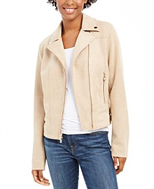 Faux-Suede Moto Jacket, Created For Macy's
