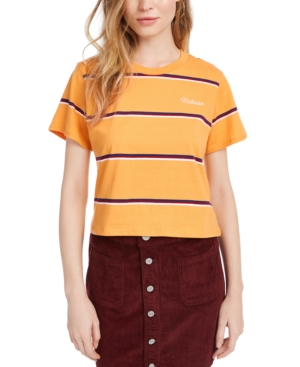 Dickies Cotton Striped Cropped T-shirt In Yellow