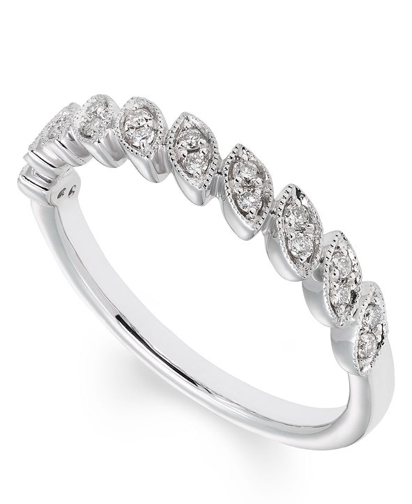 Macy's Certified Diamond (1/6 ct. t.w.) Band in 14K White Gold