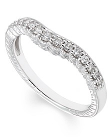 Curved Diamond (1/4 ct. t.w.) Band in 14K White Gold