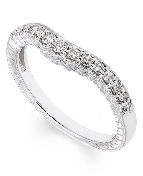 Macy's Certified Diamond (1/4 ct. t.w.) Band in 14K White Gold