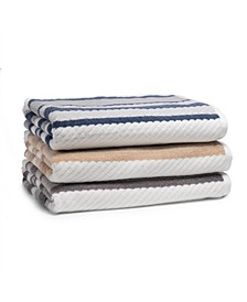 Textured Cotton Stripe Towel Collection