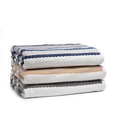 Cassadecor Textured Cotton Stripe Towel Collection
