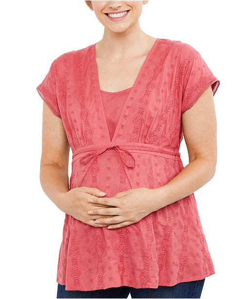 Motherhood Maternity Embroidered Babydoll Blouse