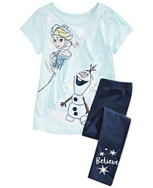 Disney® Toddler Girls 2-Pc. Frozen Elsa & Olaf T-Shirt & Leggings Set