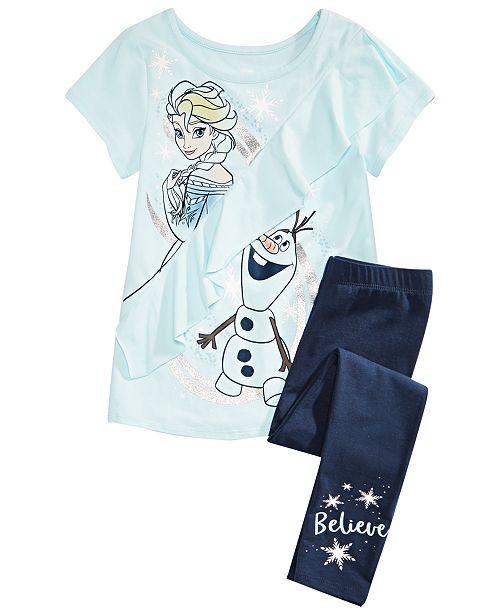 Disney Little Girls 2-Pc. Frozen Elsa & Olaf T-Shirt & Leggings Set