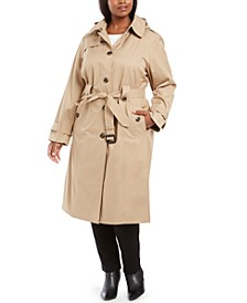 Plus Size Single-Breasted Belted Maxi Raincoat