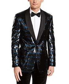 Orange Men's Slim-Fit Navy Blue/Black Stripe Sequined Dinner Jacket