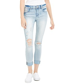 Juniors' Curvy Distressed Two-Button Jeans