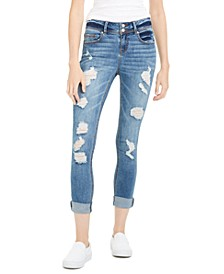 Juniors' Distressed Two-Button Jeans