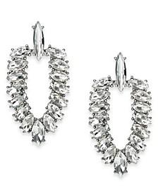 INC Silver-Tone Crystal Doorknocker Drop Earrings, Created For Macy's