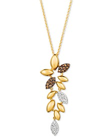 "Chocolatier® Diamond Leaf 20"" Pendant Necklace (1/4 ct. t.w.) in 14k Gold"